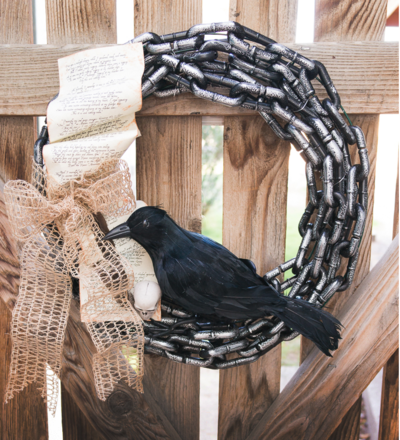Edgar Allen Poe Inspired Raven Halloween Wreath