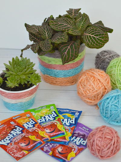 Kool Aid Dyed Yarn Plant Pot