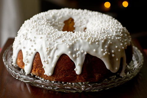 Cherry-Almond Winter Cake with Sour Cream Icing