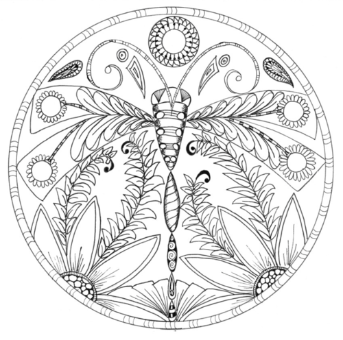 Dragonfly Floral Mandala Coloring Page FaveCrafts.com