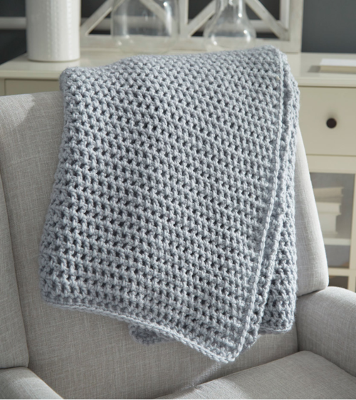 Light Grey Easy Crochet Afghan Pattern