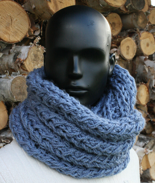 Faux Cable Knit Infinity Scarf
