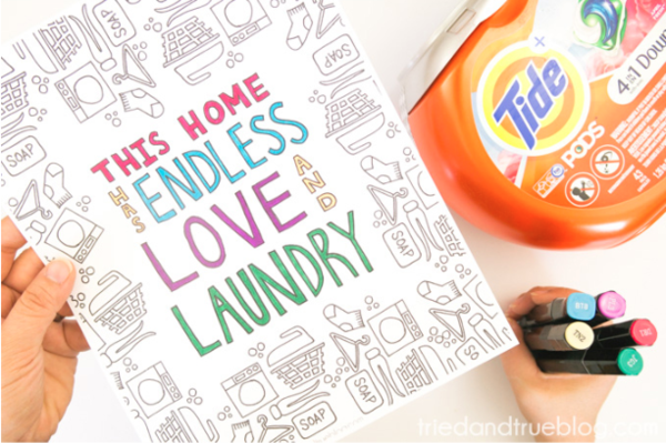 Love and Laundry Free Adult Coloring Page