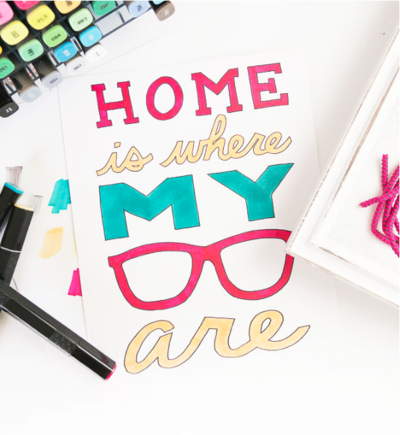 Home Is Where My Glasses Are Free Coloring Page