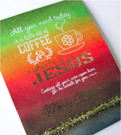Coffee and Jesus Handmade Christmas Card Design