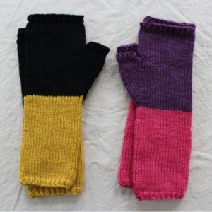 Two Tone Fingerless Mitts
