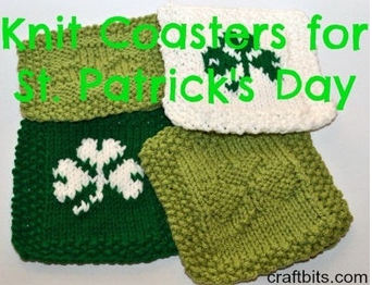 St Patricks Day Knit Coasters