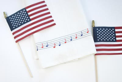 Fourth of July Musical Dish Towel Embroidery Pattern