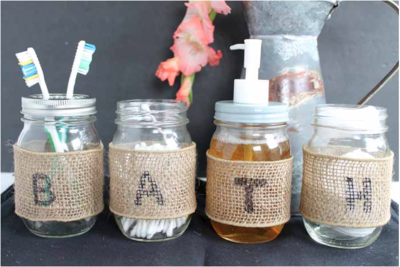 DIY Mason Jar Bathroom Holders