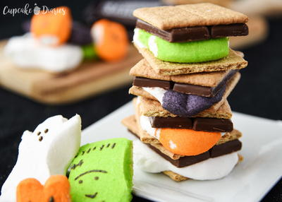 Colorful Halloween Smores with Peeps