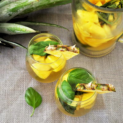 Basil and Pineapple Moscato Sangria