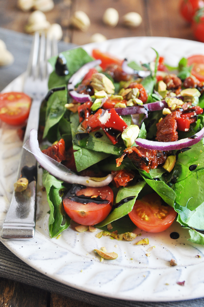 Spinach Salad with Pistachios and Sun Dried Tomatoes