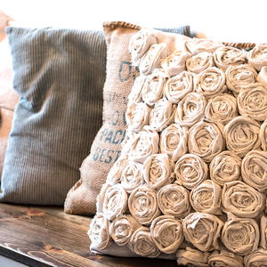 Drop Cloth Rose Pillow