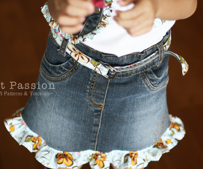 Ruffly Denim Skirt
