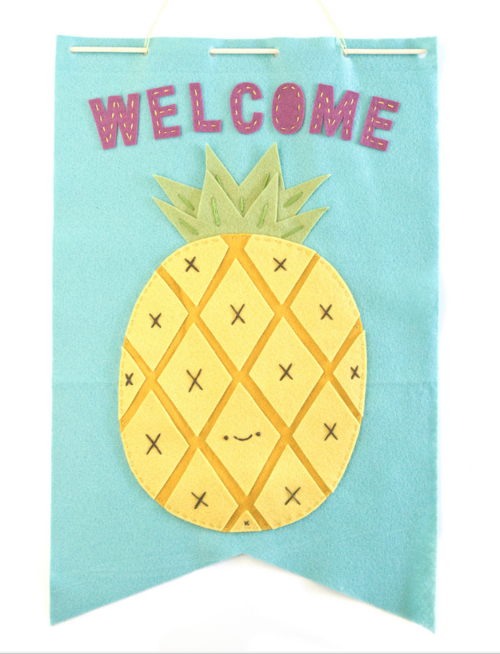 DIY Pineapple Embroidery Banner