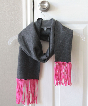 Fast No Sew Fleece & Fringe Scarf