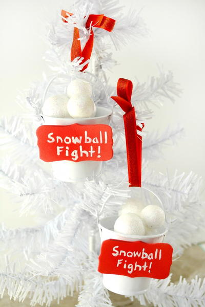 Snowball Fight DIY Ornament