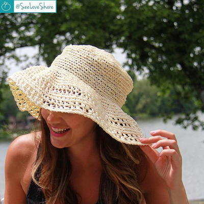 Cute Kids Summer Crochet Straw Beach Sun Hat With Flowers Girl's Accessories Apparel Accessories