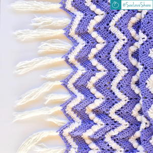 Crochet Purple & Puff Chevron Blanket