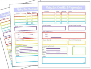 graphic regarding Babysitter Information Sheet Printable known as Cost-free Printable Babysitter Written content Sheet