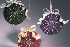 Beaded CD Ornaments