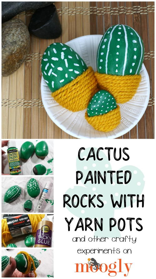 Cactus Painted Rocks with Yarn Pots