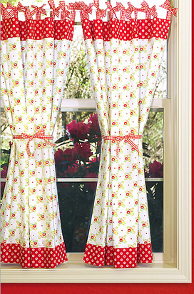 Kitchen Curtains with Gingham Bows