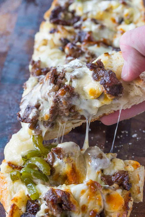 Philly Cheesesteak Cheesy Bread