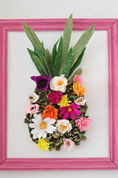 Pineapple Paper Flower Wall Decoration Allfreepapercrafts Com