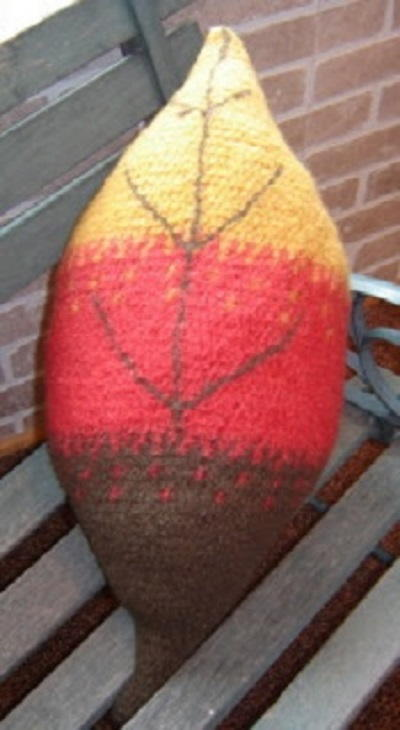 Crochet Felted Fall Leaf Pillow