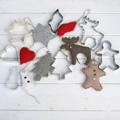 Cookie Cutter Repurposed Sweater Christmas Decorations