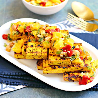 Grilled Tofu Steaks with Mango Salsa