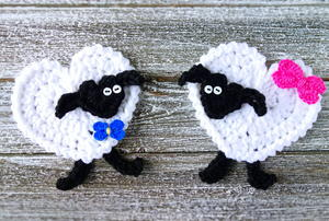 Crochet Heart Sheep Applique