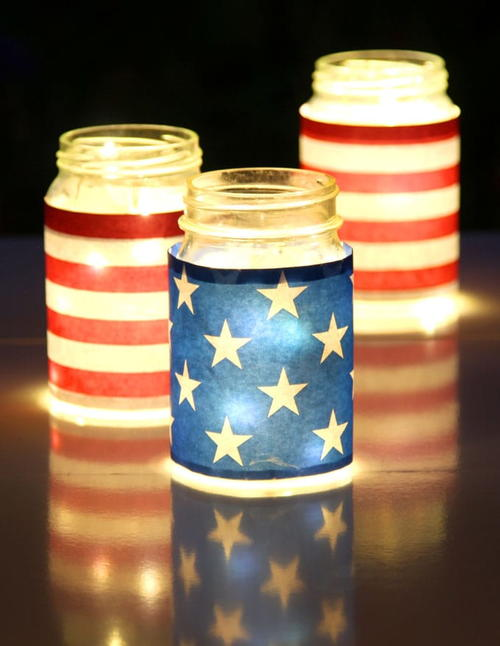 July 4th DIY Mason Jar Luminaries