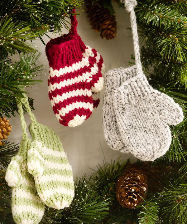 Knitted Baby Mitten Ornaments