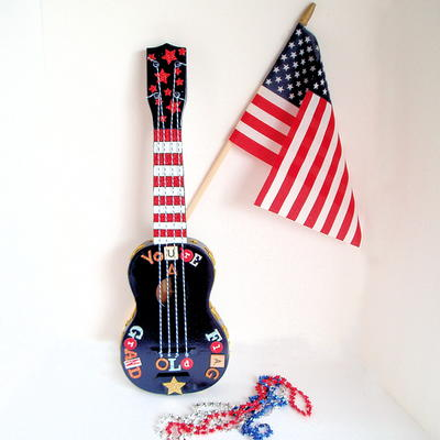 Ukulele Upcycled Patriotic Wall Art_1