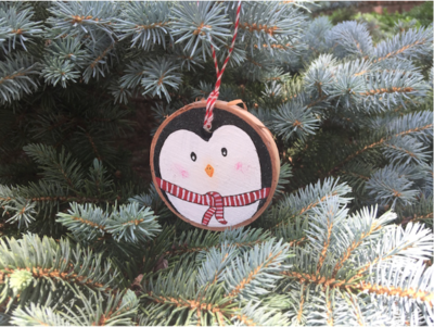 Hand Painted Penguin Ornament DIY