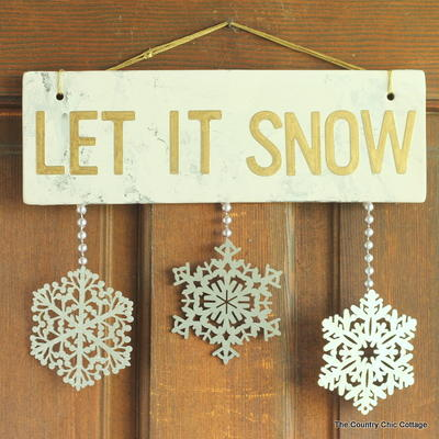 Metallic Let It Snow Decorative Sign