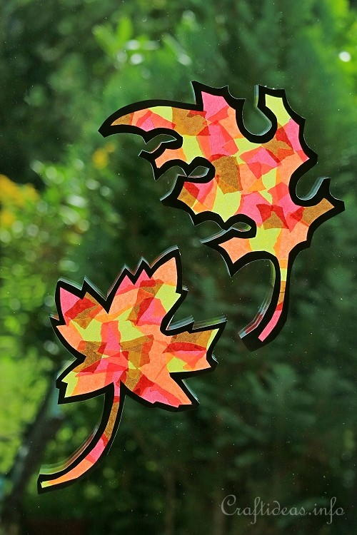Paper Autumn Leaves Suncatchers