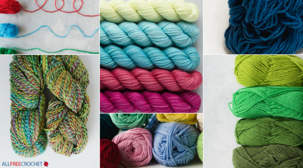 Image shows a collage of different yarn types. Skeins, hanks, and balls are included with various colors of yarn.