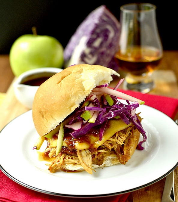 Bourbon Chicken Sandwiches with Crunchy Apple Slaw