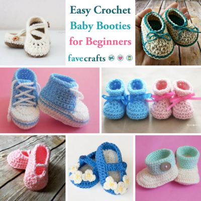 e5ee16ec252 15 Easy Crochet Baby Booties for Beginners | FaveCrafts.com