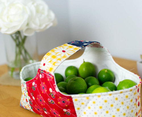 Patchwork Fabric Basket Pattern