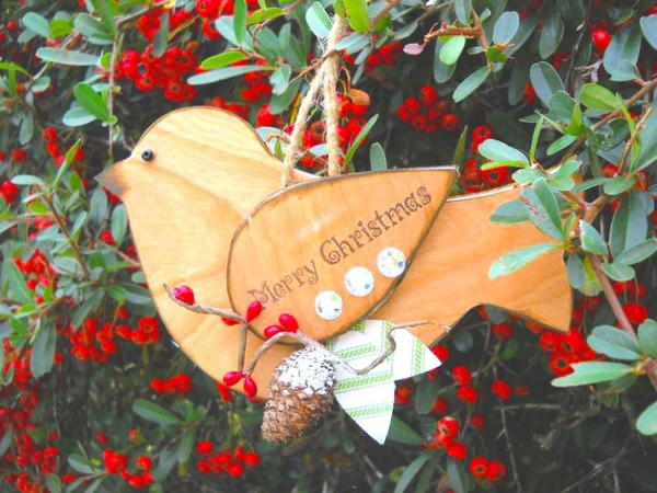 Wood Bird Christmas Ornaments