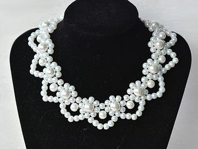 Bridal Flower Pearl Necklace