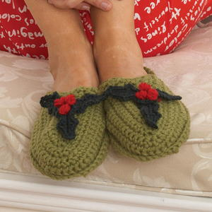 Holly Holiday Crochet Slippers