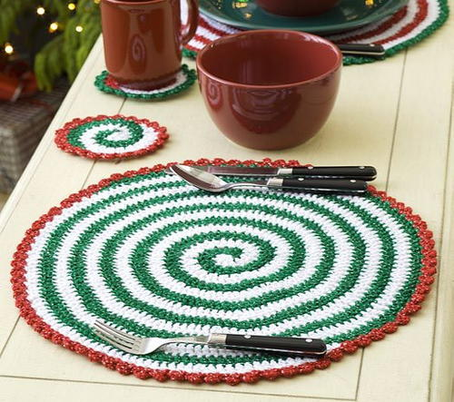 DMC Crochet Pattern Spiral Placemat and Coasters