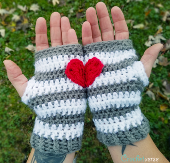 Heart-in-Hand Crochet Fingerless Gloves Pattern