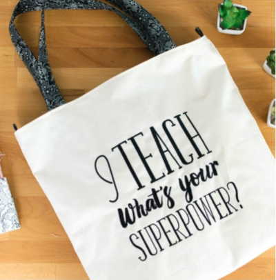 Teachers Tote Bag Pattern with Zipper