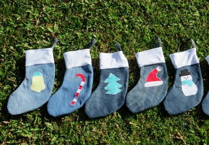 Mini Denim Christmas Treat Stockings
